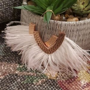 Anthropologie Rose Gold Large Feather Earrings